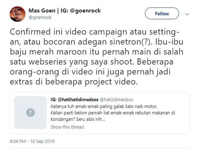 pernyataan salah satu video maker yang ternyata mengenali para pemerannya Twitter/goenrock