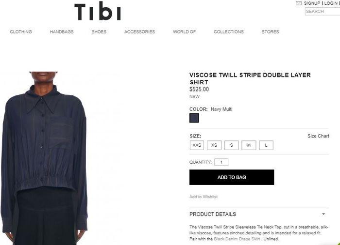 Tibi Viscose Twill Stripe Double-layer Shirt