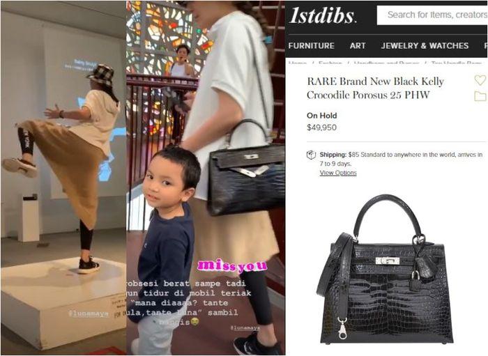 Luna Maya terlihat membawa koleksi tas branded Hermes RARE Brand New Black Kelly Crocodile Porosus 25 PHW