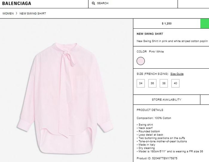 Balenciaga New Swing Shirt in Pink and White Striped Cotton Poplin