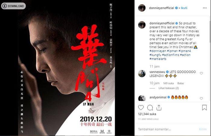 Donnie Yen umumkan Ip Man 4 akan menjadi film terakhir dari serinya.