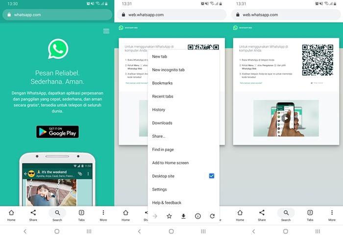 NextrenMembuka WhatsApp versi web lewat hape