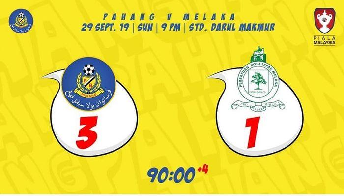 Pahang FA vs Melaka United pada perempat final kedua Piala Malaysia 2019, 29 September 2019.