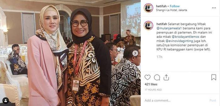 Sambutan hangat untuk Mulan Jameela dari Wakil Ketua Komisi X DPR RI, Hetifah Sjaifudian.