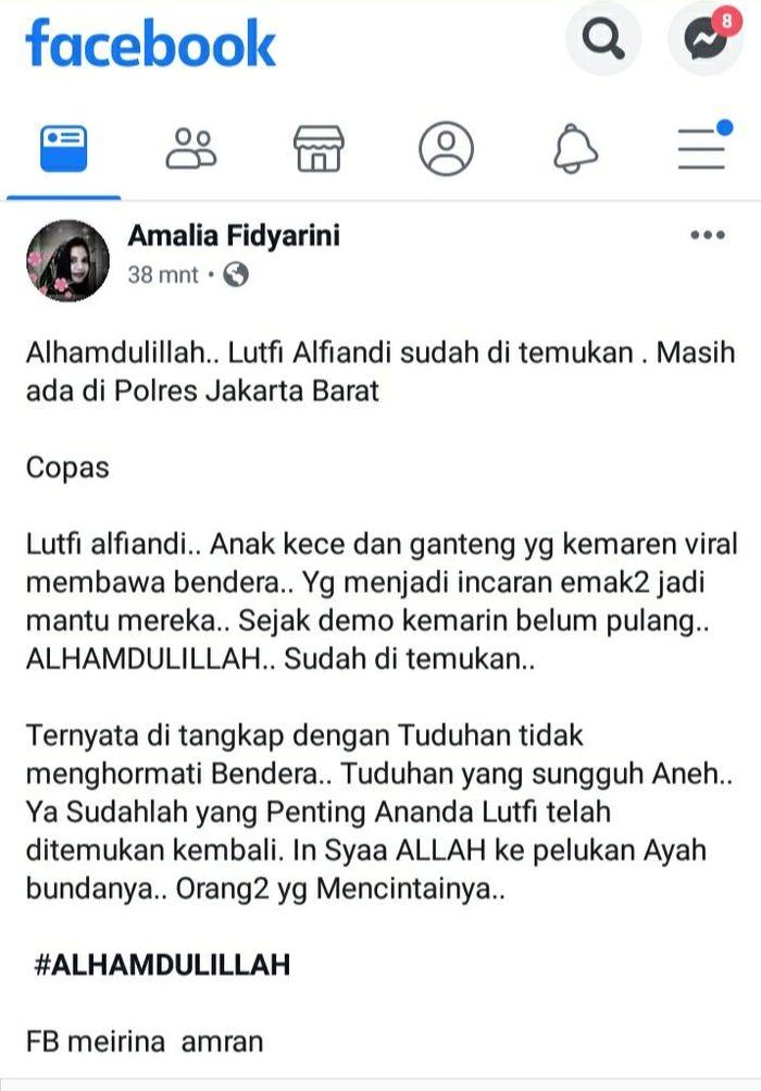 Kabar terakhir Lutfi Alfiandi