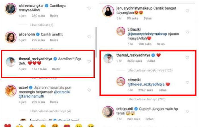 Citra Kirana dan Rezky Aditya umbar kemesraan dengan   berbalas emoticon hati