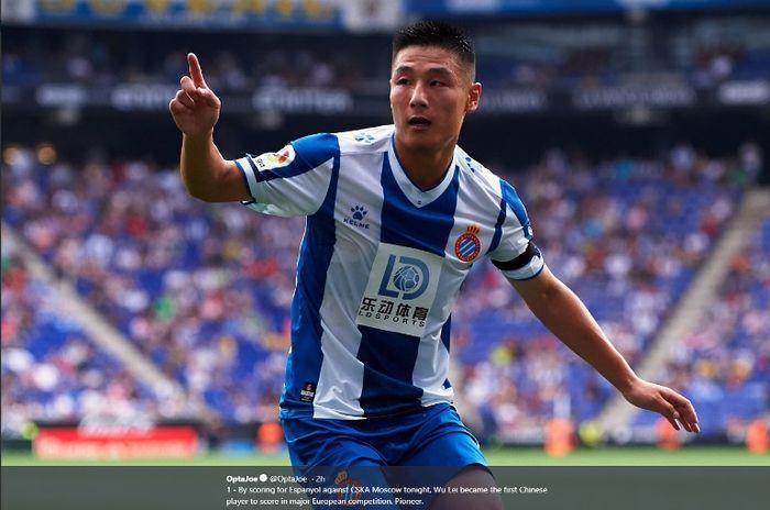 Penyerang Espanyol, Wu Lei, dalam laga kontra CSKA Moskva pada Kamis (3/10/2019).