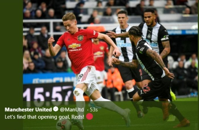 Laga Newcastle UNited versus Manchester United di St James' Park, Minggu (6/10/2019).