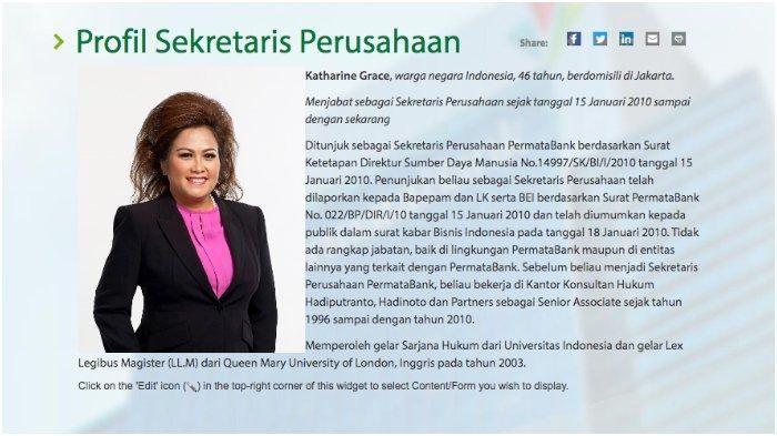 Profile Kathrine Grace di website Permata Bank