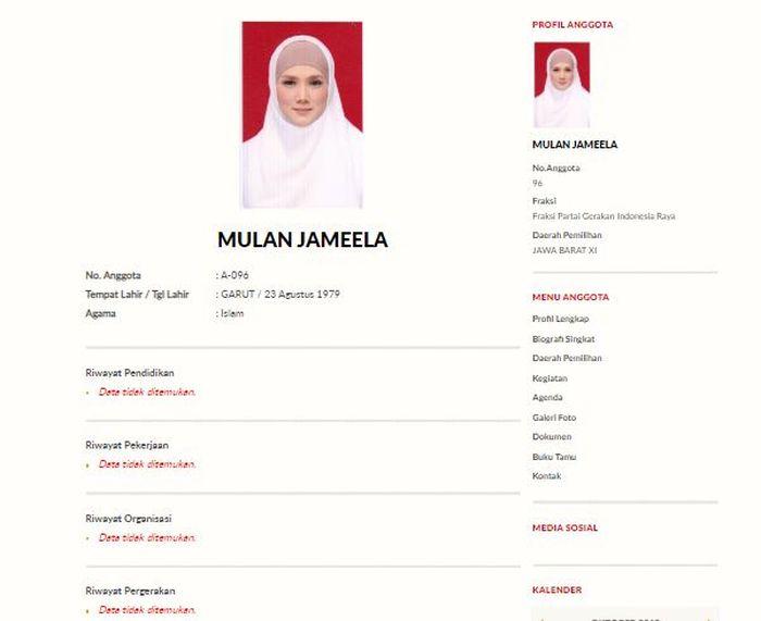 Profil Mulan Jameela di website DPR RI