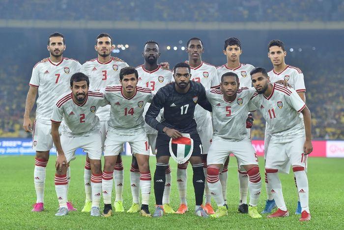 Skuat timnas Uni Emirat Arab (UEA) saat dijamu timnas Malaysia, di Stadion Bukit Jalil, Kuala Lumpur, 10 September 2019.