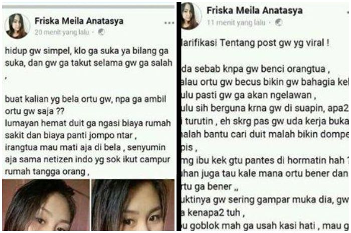 Tangkap layar Facebook/Friska Meila Anastasya via Tribun Style Postingan terbaru Friska Meila Anastasya terkait postingan Facebooknya yang viral.