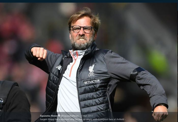 Selebrasi andalan pelatih Liverpool, Juergen Klopp.