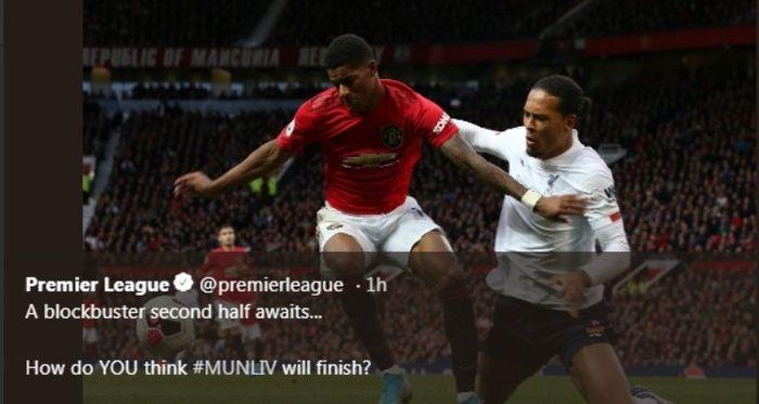 Marcus Rashford dan Virgil van Dijk dalam laga Manchester United versus Liverpool di Old Trafford, Minggu (20/10/2019).