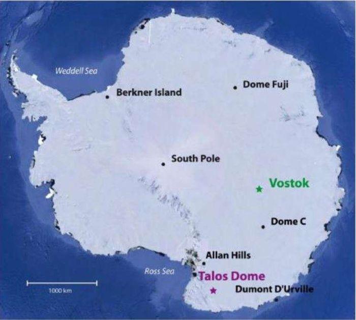Wilayah Vostok dan Talos Dome di Antartika.