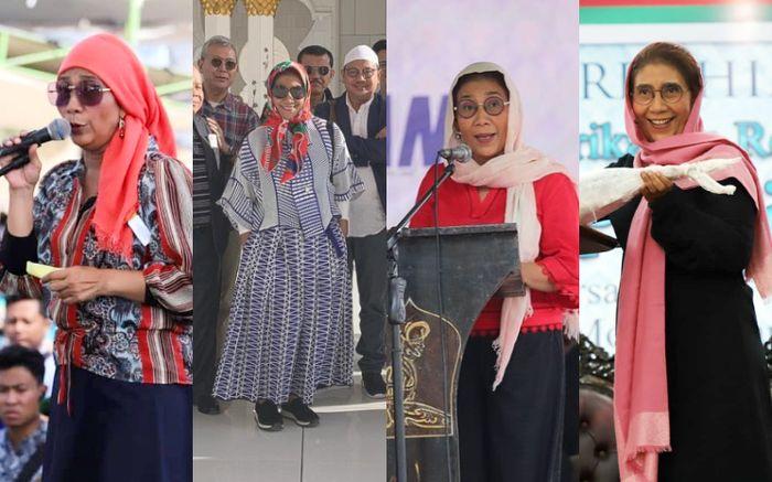 Deretan penampilan Susi Pudjiastuti mantan Menteri Kelautan dan Perikanan RI dalam balutan kerudung berwarna cerah