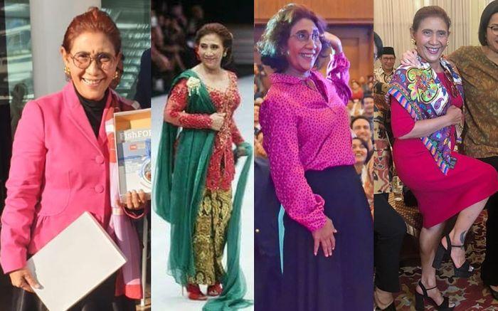 Deretan penampilan Susi Pudjiastuti mantan Menteri Kelautan dan Perikanan RI kenakan busana berwarna cetar