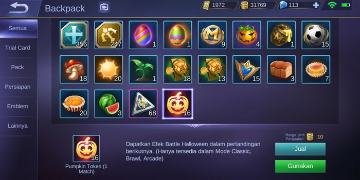 Pumpkin Token tersimpan di backpack dalam game Mobile Legends