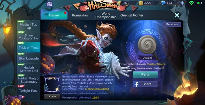 Laman event Trick or Treat Mobile Legends
