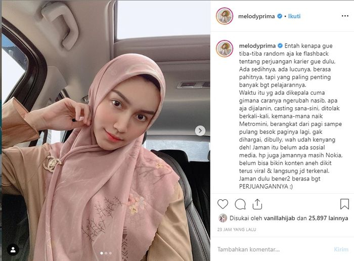 Melody Prima curhat pengalamannya di Instagram