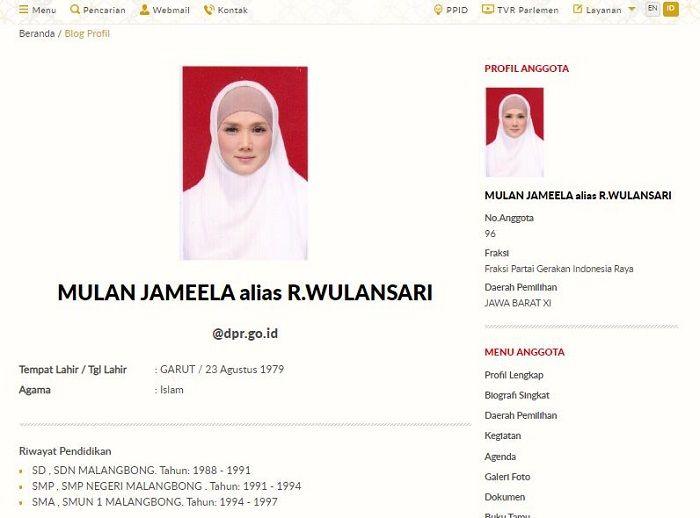 Riwayat pendidikan Mulan Jameela di situs resmi DPR