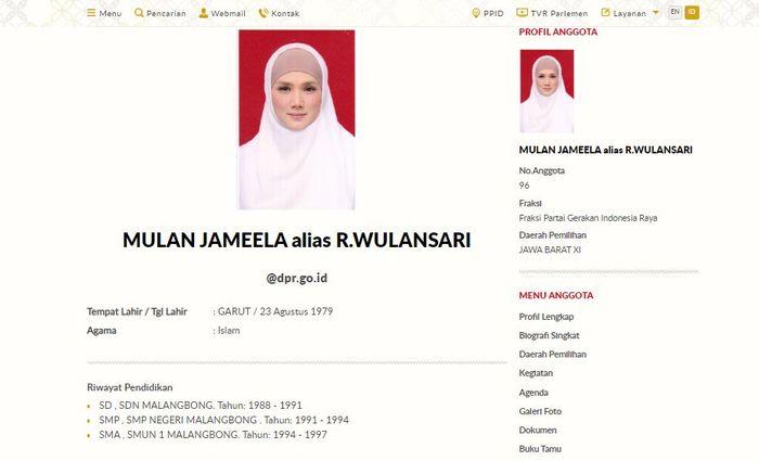 Laman profil Mulan Jameela di website DPR
