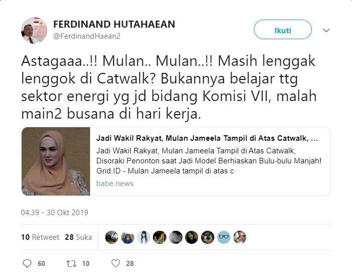 Cuitan politisi Partai Demokrat, Ferdinand Hutahaean soal aksi Mulan Jameela di catwalk