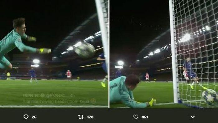 Kiper Chelsea, Kepa Arrizabalaga, mencetak gol bunuh diri saat melawan Ajax Amsterdam pada matchday keempat Liga Champions.