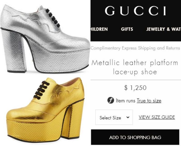 Gucci Metallic Leather Platform Lace-up Shoe