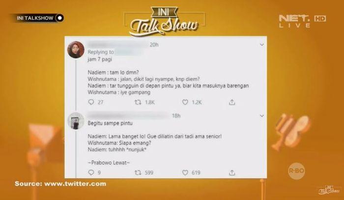 Meme isi chat Wishnutama dan Nadiem Makarim