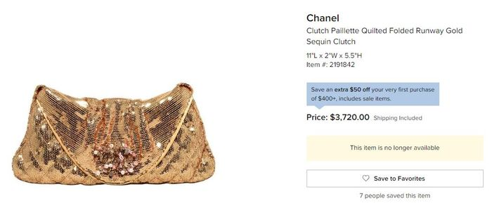 Harga Clutch Paillette Quilted Folded Runway Gold Sequin Clutch dari Chanel