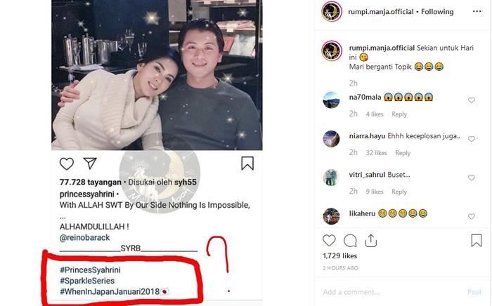 Tagar yang digunakan Syahrini dikomentari netizen sebagai bukti menikung Reino Barack