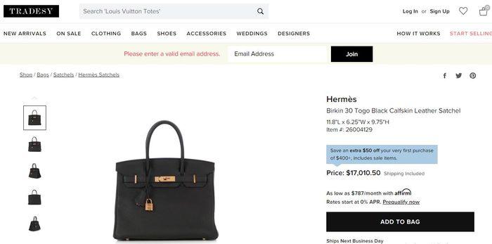 Hermes Birkin 30 Togo Black Calfskin Leather Satchel
