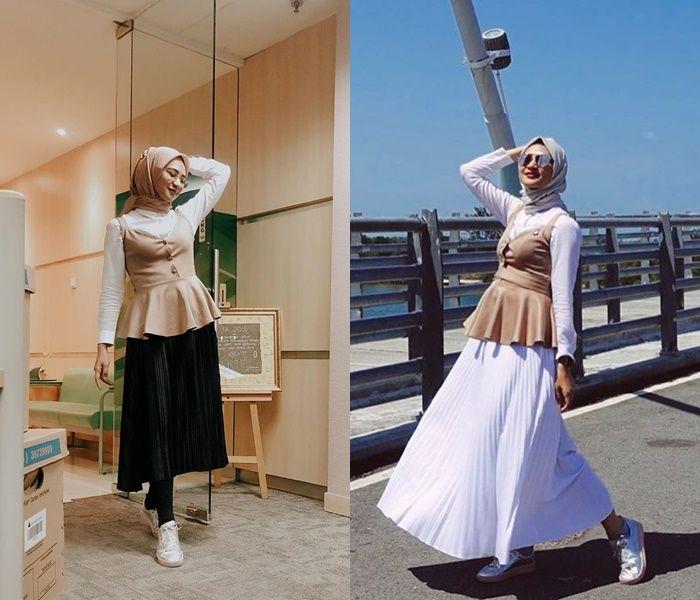 Gaya Hijab Modis ala Angkie Yudistia, Tuna Rungu yang Jadi Staf Khusus Presiden Jokowi - Peplum Cami Top