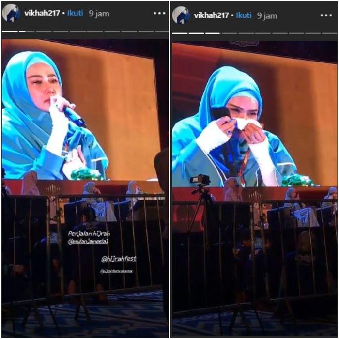 Mulan Jameela menangis saat menceritakan kisah hijrahnya.