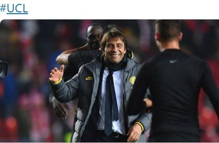 Ekspresi pelatih Inter Milan, Antonio Conte, seusai laga Grup F Liga Champions melawan Slavia Praha di Stadion Eden Arena, Rabu (27/11/2019).