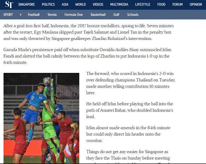Pemberitaan straitstimes.com terkait aksi Osvaldo Haay kala timnas U-22 Indonesia melawan Singapura di fase Grup B SEA Games 2019, Kamis (28/11/2019).