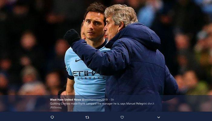 Frank Lampard dan sang pelatih, Manuel Pellegrini, saat masih di Manchester City musim 2014/2015.