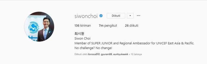 Jumlah followers akun Instagram Siwon bertambah.