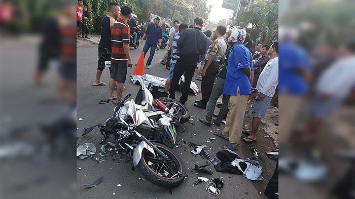 Nurul Faqih (22) tewas kecelakaan dalam perjalanan untuk mengikuti wisuda di UIN Syarif Hidayatullah, Jakarta, Minggu (1/12/2019). Lamppu depan motor Nurul Faqih hancur.