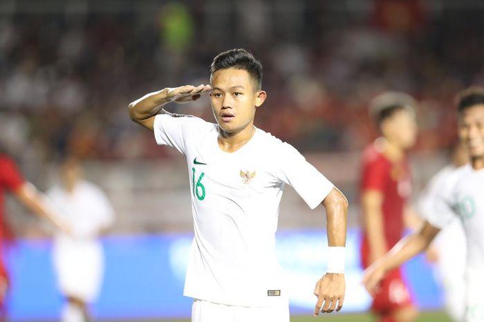 Selebrasi gol pemain timnas U-22 Indonesia, Sani Rizky Fauzi, ke gawang Vietnam