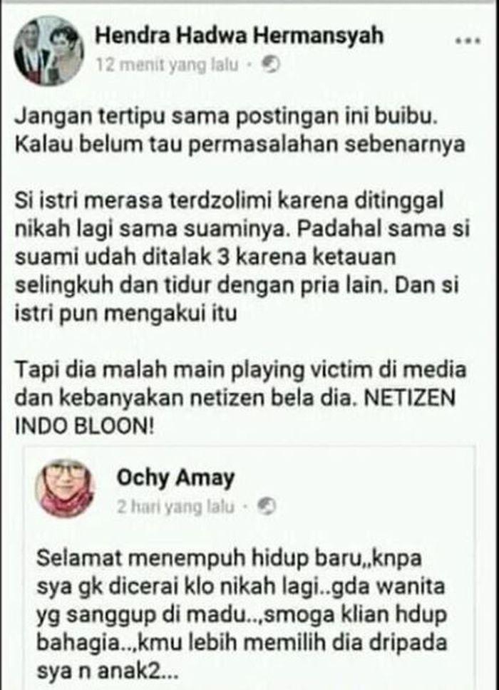 Postingan Hendra hadwa Hermansyah.