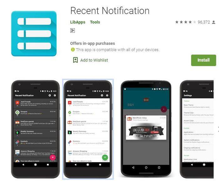 Aplikasi Recent Notification