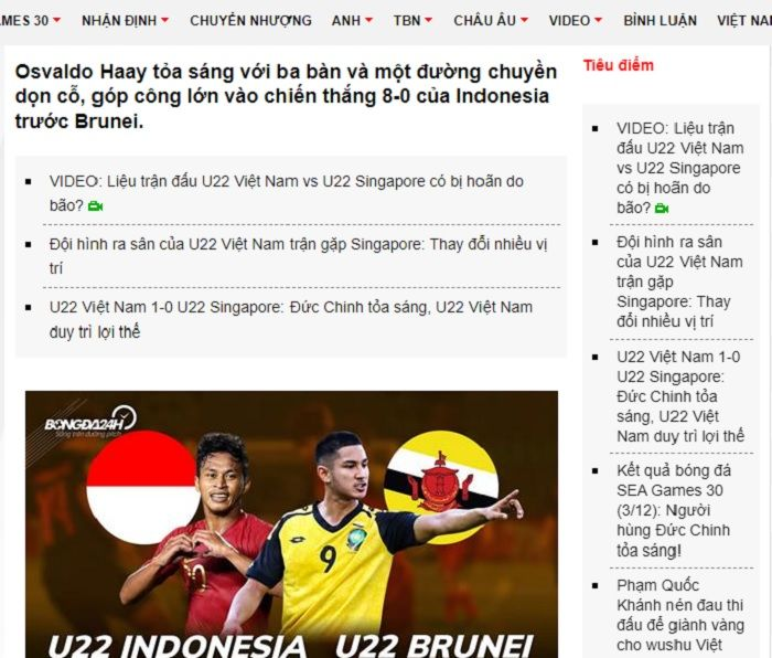 Pemberitaan Media Vietnam, Bongda24h.vn yang berisi pujian kepada Osvaldo Haay usai membawa timnas U-22 Indonesia libas Brunei di matchday keempat fase Grup B SEA Games 2019.