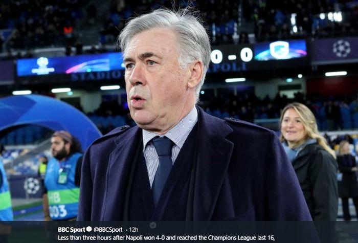 Eks pelatih Real Madrid, Chelsea dan AC Milan, Carlo Ancelotti, yang baru saja didepak oleh Napoli usai mengantarkan tim lolos ke babak 16 besar Liga Champions 2019-2020.