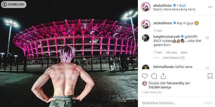 Atta Halilintar pamer tubuh kekarnya netizen salfok dgn bercak merah di punggungnya
