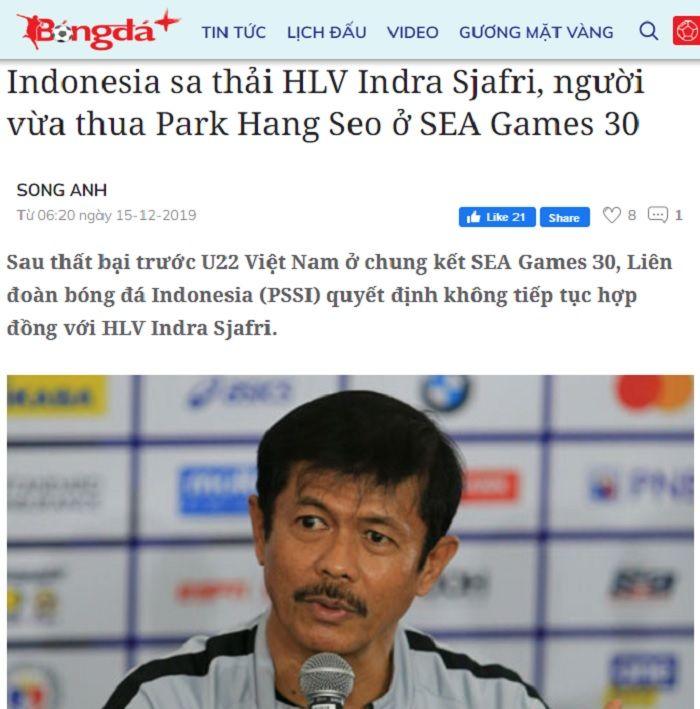 Pemberitaan media Vietnam, Bongdaplus yang menyebut Indra Sjafri dipecat PSSI usai kalah dari Park Hang-seo.