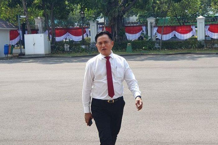 Ketua Umum PBB Yusril Ihza Mahendra menemui Presiden Joko Widodo di Istana Kepresidenan, Jakarta, Kamis (1/8/2019).