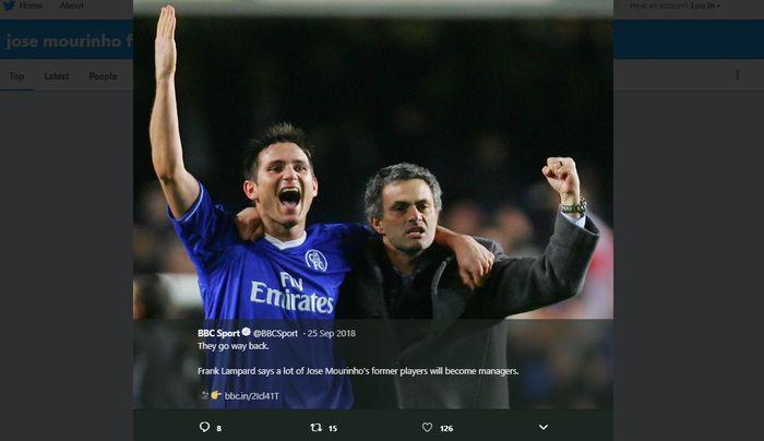 Frank Lampard, saat masih berseragam Chelsea, dan sang pelatih, Jose Mourinho.