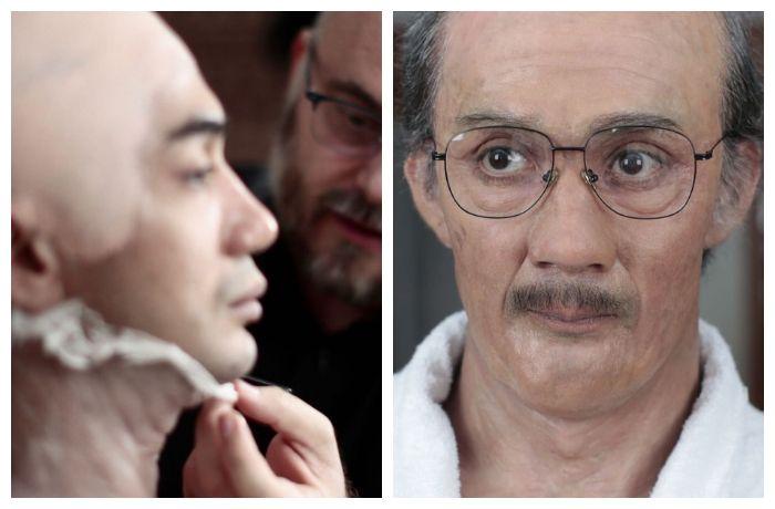 Penampakan Reza Rahadian saat dipasang makeup prostetik bagian wajahnya